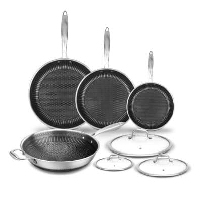 7-Piece Stainless Steel Cookware Set Triply DAKIN Etching Non-Stick Coating