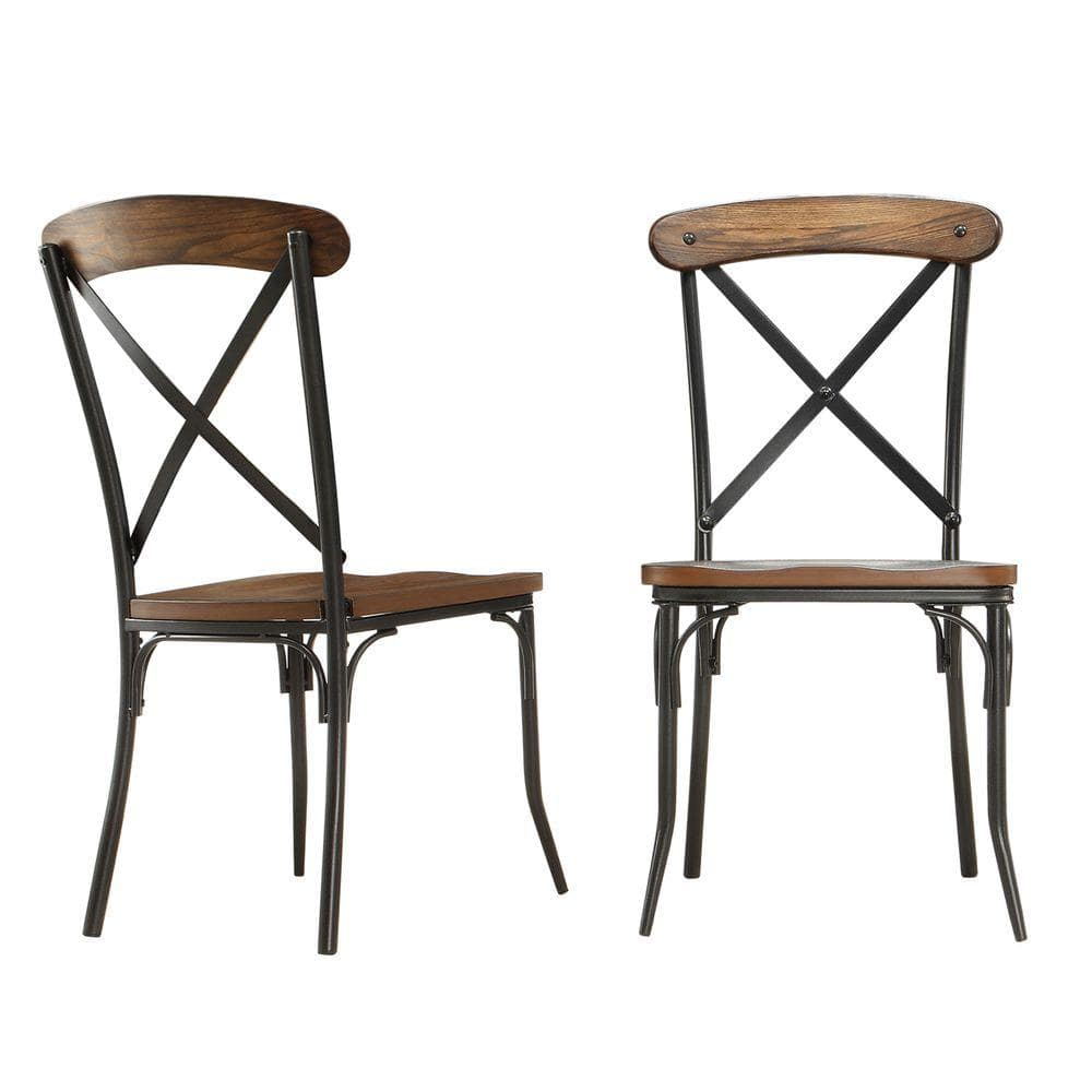 Homesullivan Cabela Distressed Ash Wood And Metal Dining Chair Set Of 2 405099s2pc The Home Depot
