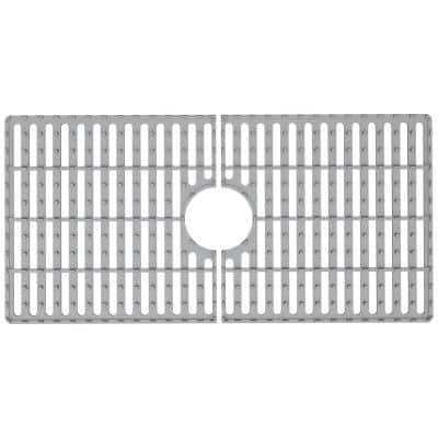 30 in. x 15 in. Silicone Bottom Grid for 33 in. Single Bowl Composite Kitchen Sink in Gray