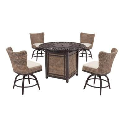 Hazelhurst 5-Piece Brown Wicker Outdoor Patio High Dining Fire Pit Seating Set with CushionGuard Almond Tan Cushions