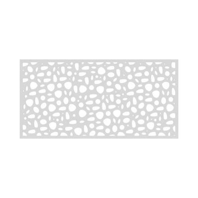 3 ft. x 6 ft. River Rock White Vinyl Decorative Screen Panel