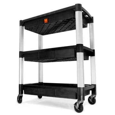 300 lbs. Capacity 32 in. x 18.5 in. Triple Decker Service 3-Tray and Utility Cart