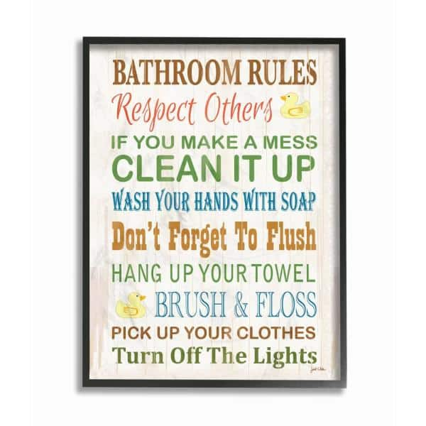 Stupell Industries 11 In X 14 In Bathroom Rules Typography Rubber Ducky By Janet White Wood Framed Wall Art Wrp 1036 Fr 11x14 The Home Depot