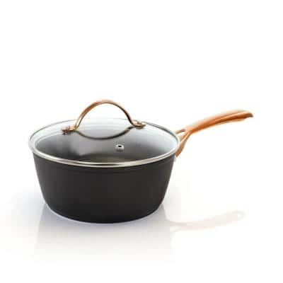 Allsberg 1.7 qt. Aluminum Sauce Pan with Lid and Bronze Handles