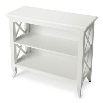 Masterpiece 30.25 in. Glossy White Wood 2-shelf Standard Bookcase