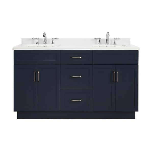 Home Decorators Collection Lincoln 60 In W X 22 In D Vanity In Midnight Blue With Marble Vanity Top In White With White Sink Lincoln 60 The Home Depot