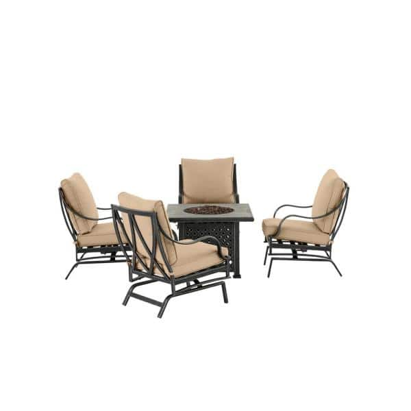 Hampton Bay Highland Point Black Pewter 5 Piece Aluminum Outdoor Patio Fire Pit Set With Sunbrella Beige Tan Cushions H091 01574700 The Home Depot