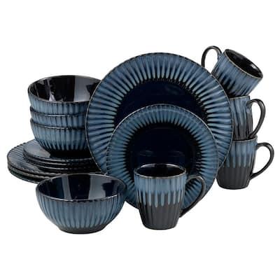 16-Piece Blue Reactive Stoneware Dinnerware Set (Service for 4)