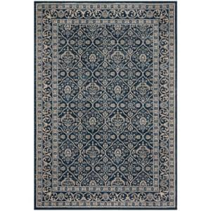 Brentwood Navy/Light Gray 6 ft. x 9 ft. Geometric Floral Border Area Rug
