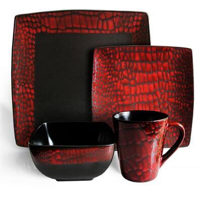 Boa 16-Piece Casual Red Stone Dinnerware Set (Service for 4)