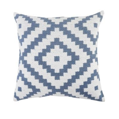 Robin 20 in. x 20 in. White/Blue Geometric Square Outdoor Throw Pillow