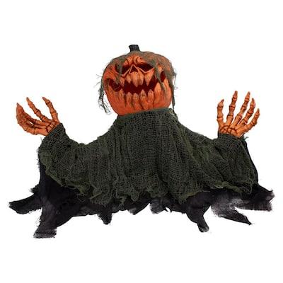 30 in. Black and Orange Incandescent Light Animated Pumpkin Halloween Prop