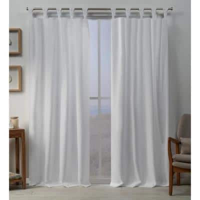 Winter White Linen Tab Top Room Darkening Curtain - 54 in. W x 96 in. L (Set of 2)