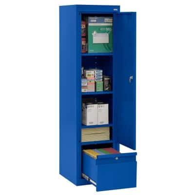 System Series 17 in. W x 64 in. H x 18 in. D Blue Single Door Storage Cabinet with File Drawer