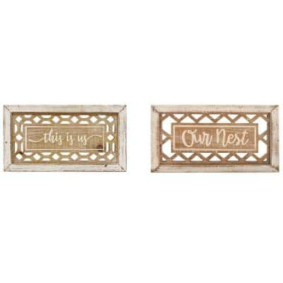 7 in. x 12 in. Beige Wood Farmhouse Sign Wall Decor (Set of 2)