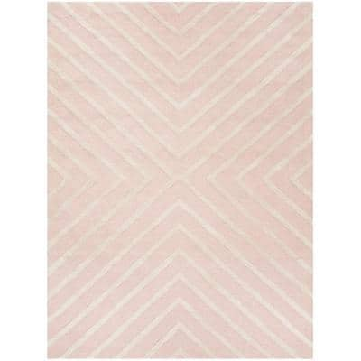 Kids Pink/Ivory 5 ft. x 7 ft. Geometric Area Rug
