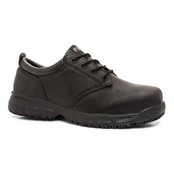 Fila Men S Memory Blake Slip Resistant Oxford Shoes Soft Toe Black Size 12 M 1sl15001 The Home Depot