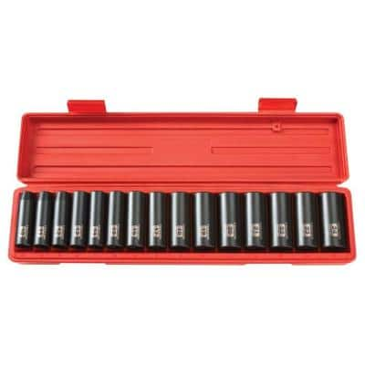1/2 in. Drive 10-24 mm 6-Point Deep Impact Socket Set (15-Piece)