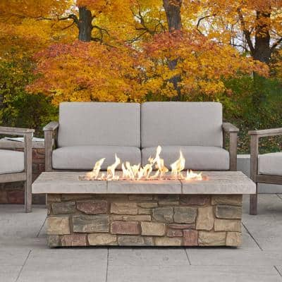 Sedona 52 in. x 19 in Rectangle Fiber-Concrete Propane Fire Pit in Buff with Natural Gas Conversion Kit