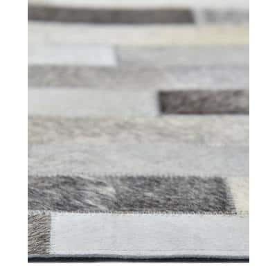 Arezoo Contemporary Cowhide Gray 8 ft. x 10 ft. Area Rug