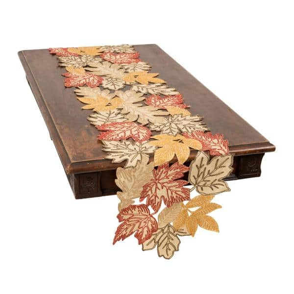 Xia Home Fashions 0 1 In H X 15 In W X 54 In D Autumn Leaves Embroidered Cutwork Table Runner In Beige Xd188051554beige The Home Depot