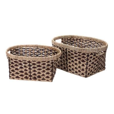 14 in. W x 9 in. H Handmade Water Hyacinth Oval Braided Wicker Nesting Baskets in Brown (2-Pack)