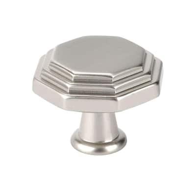 Italian Designs Collection 1 in. Satin Nickel Octagon Cabinet Knob