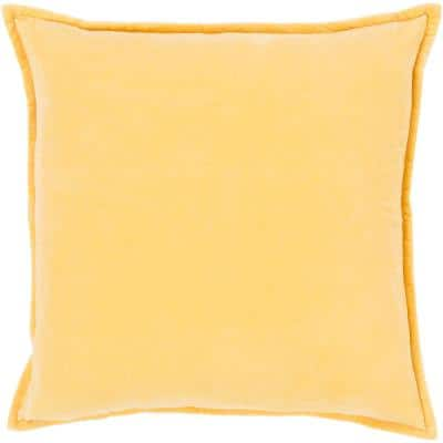 Velizh Bright Yellow Solid Polyester 20 in. x 20 in. Throw Pillow