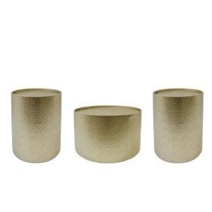 Braeburn 3-Piece 26 in. Gold Medium Round Metal Coffee Table Set