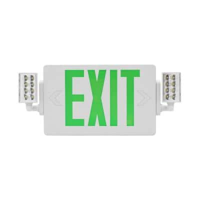 ECL2 Series Slim LED Emergency Exit Sign Combo, Green Lettering