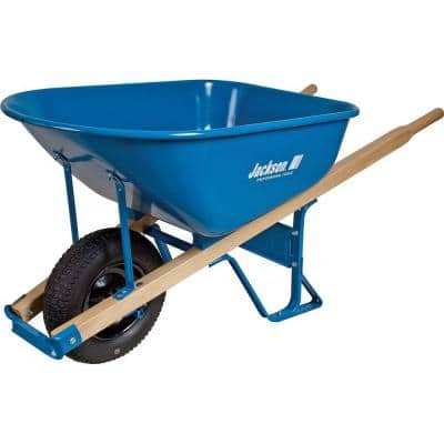 6 cu. ft. Heavy Gauge Seamless Steel Wheelbarrow with Hardwood Handles
