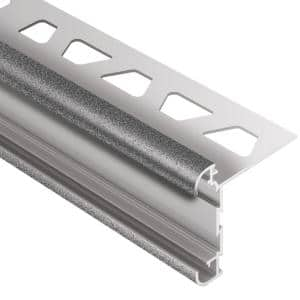 Rondec-CT Pewter Textured Color-Coated Aluminum 5/16 in. x 8 ft. 2-1/2 in. Metal Double-Rail Bullnose Tile Edging Trim