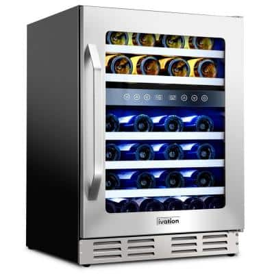 24 in. 46-Bottle Dual Zone Compressor Built-in Wine and Beverage Cooler