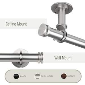 Bun Ceiling 160 in. - 240 in. Single Curtain Rod in Satin Nickel with Finial