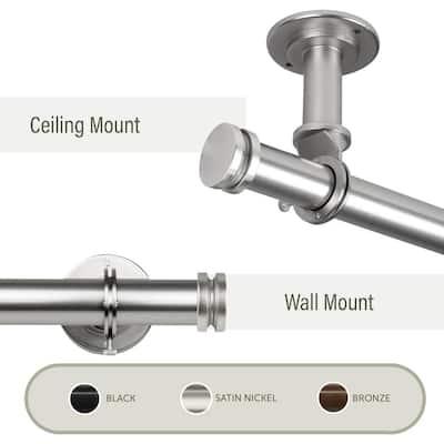 Bun Ceiling 120 in. - 170 in. Single Curtain Rod in Satin Nickel