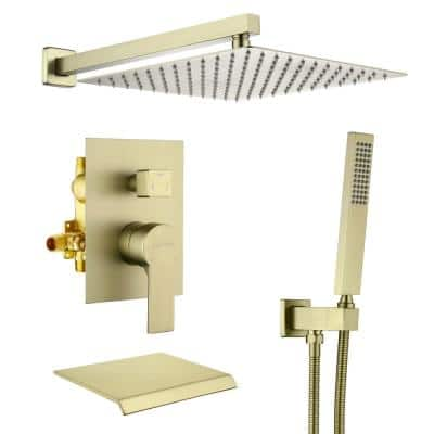 Wall Mount Single-Handle 1-Spray Tub and Shower Faucet in Brushed Gold - 12 Inch (Valve Included)