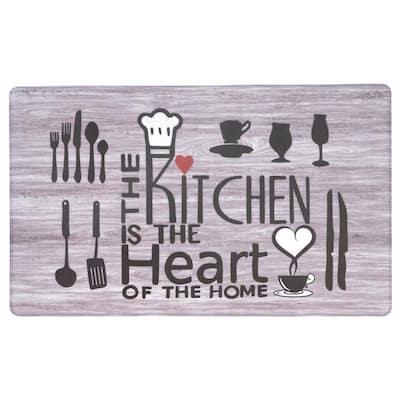 Kitchen Heart 18 in. X 30 in. Gray Anti-Fatigue Mat