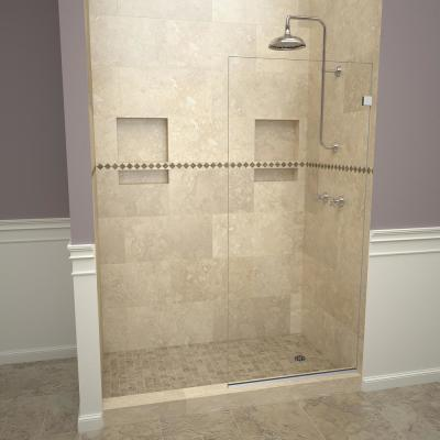 2300V Series 36 in. W x 76 in. H Semi-Frameless Fixed Shower Door in Polished Chrome Without Handle