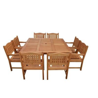 Milano Porto 9-Piece Eucalyptus Wood Square Patio Dining Set