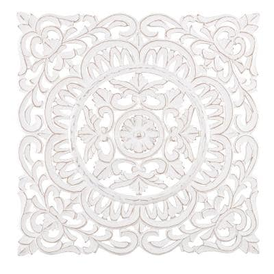 Ancona 29.5 in. x 29.5 in. White Medallion Wooden Wall Art Sculptures