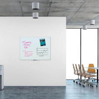 47 in. x 35 in. White Frosted Surface Frameless Magnetic Glass Dry Erase Board for High Energy Magnets