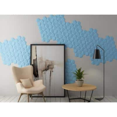 19.6 in. x 21.2 in. x 1 in. Off-White Plant Fiber Hexagon Design Glue-On Wainscot 3D Wall Panel (18-Pack)