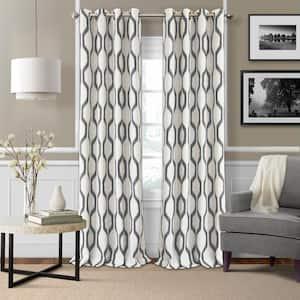 Slate Gray Ikat Blackout Curtain - 52 in. W x 95 in. L