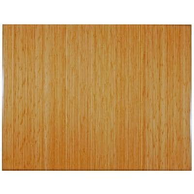 Plush Natural Light Brown 47 in. x 60 in. Bamboo Tri-Fold Office Chair Mat without Lip