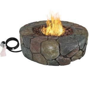 30 in. Round Fiberglass Propane Gas Fire Pit with Lava Rocks