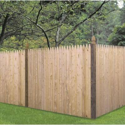 0.4375 in. x 4 in. x 6 ft. Brown Pressure-Treated Spruce Pine Fir Stockade Gothic Wood Fence Picket