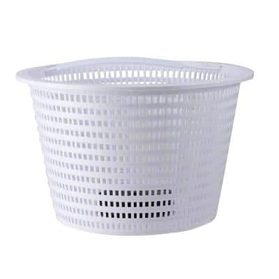 8 in. White Round Heavy-Weighted Swimming Pool Skimmer Basket
