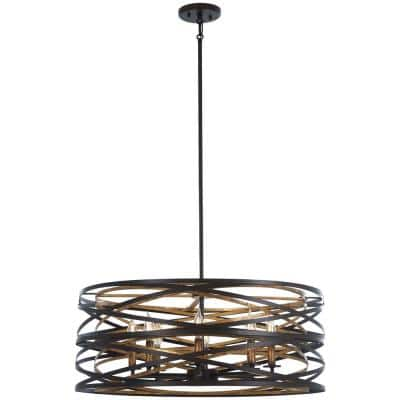 Vortic Flow 8-Light Bronze with Mosaic Gold Interior Pendant
