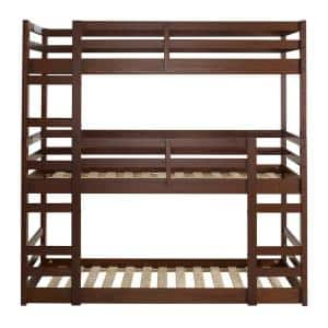 Transitional Solid Wood Triple Low Bunk Bed - Walnut