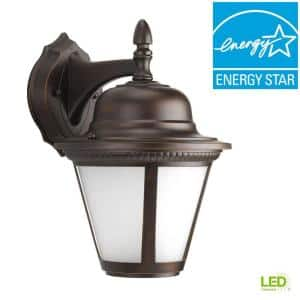 Westport LED Collection 1-Light Antique Bronze Etched Seeded Glass Traditional Outdoor Medium Wall Lantern Light